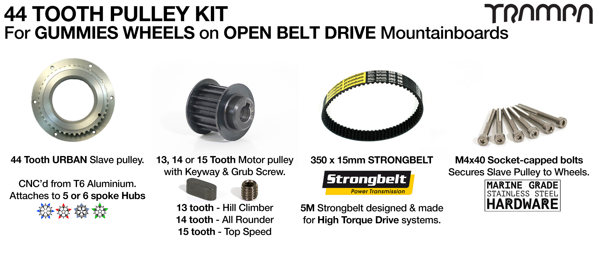 76T OBD 44 Tooth Pulley Kit with 350mm x 15mm Belt for GUMMIES Wheels On CNC Spring Trucks only!