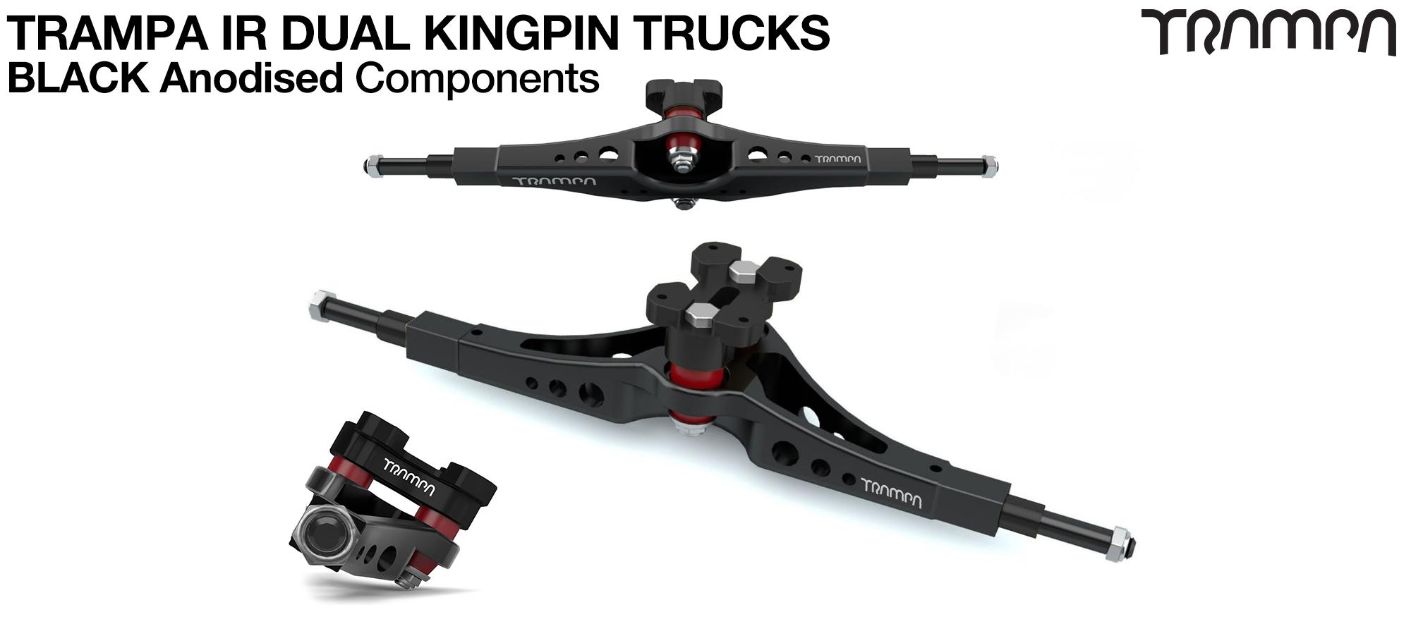 TRAMPA IR Double Kingpinned Skate Style Trucks fit every 19.1mm Motor Mount TRAMPA offers - BLACK