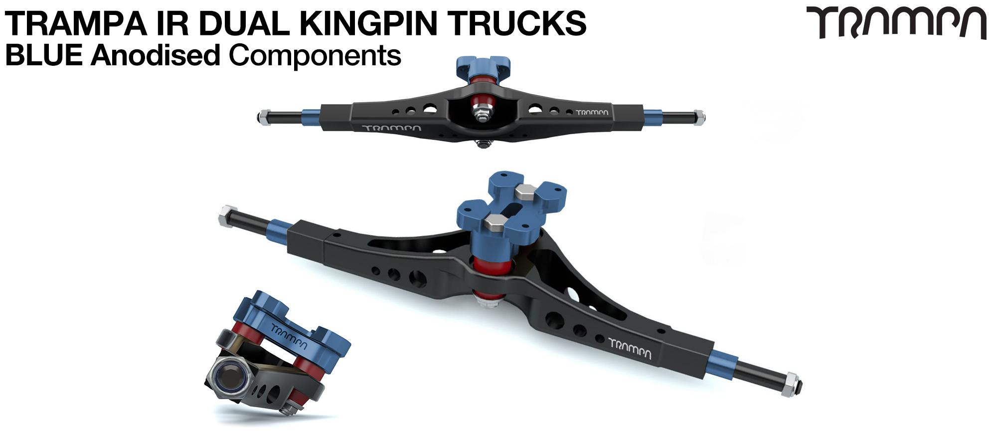 TRAMPA IR Double Kingpinned Skate Style Trucks fit every 19.1mm Motor Mount TRAMPA offers - BLUE
