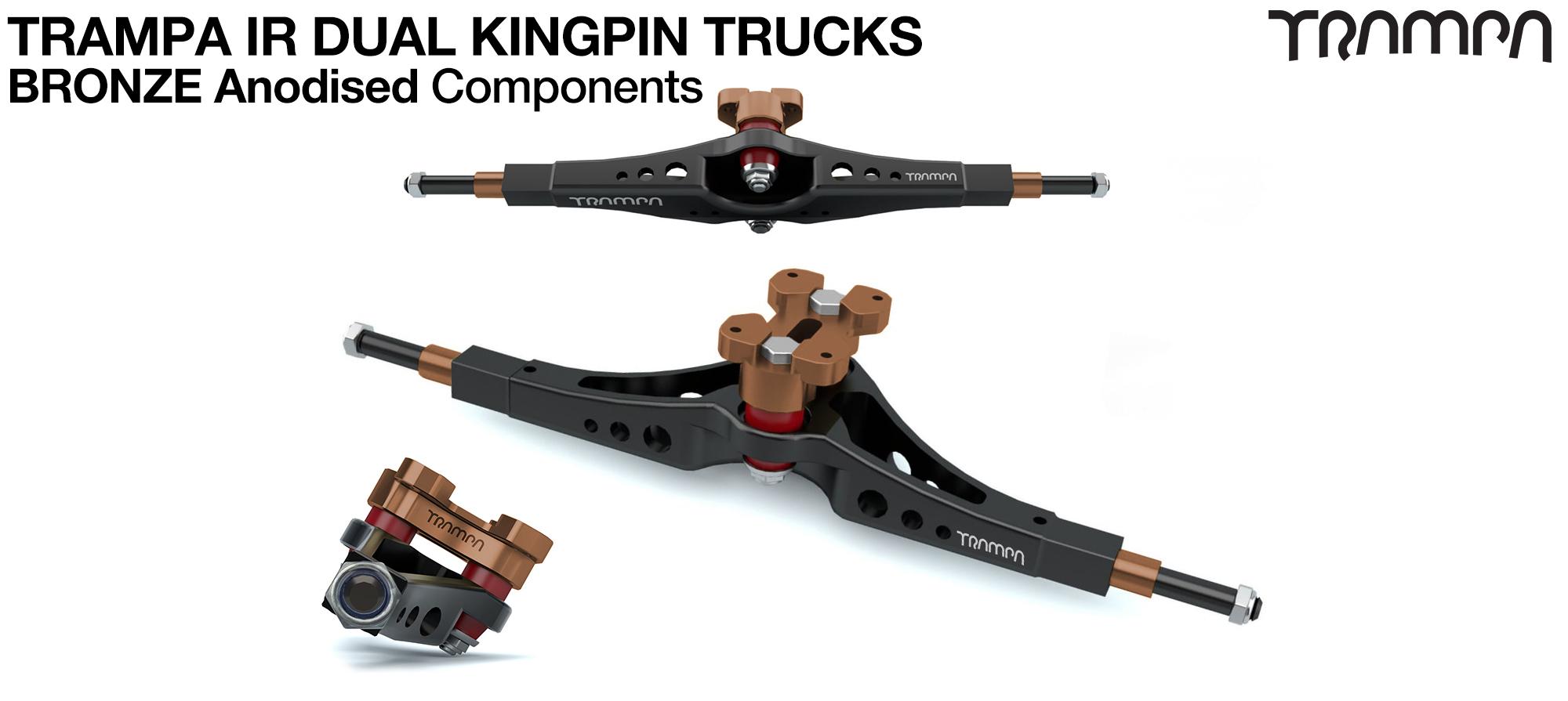 TRAMPA IR Double Kingpinned Skate Style Trucks fit every 19.1mm Motor Mount TRAMPA offers - BRONZE