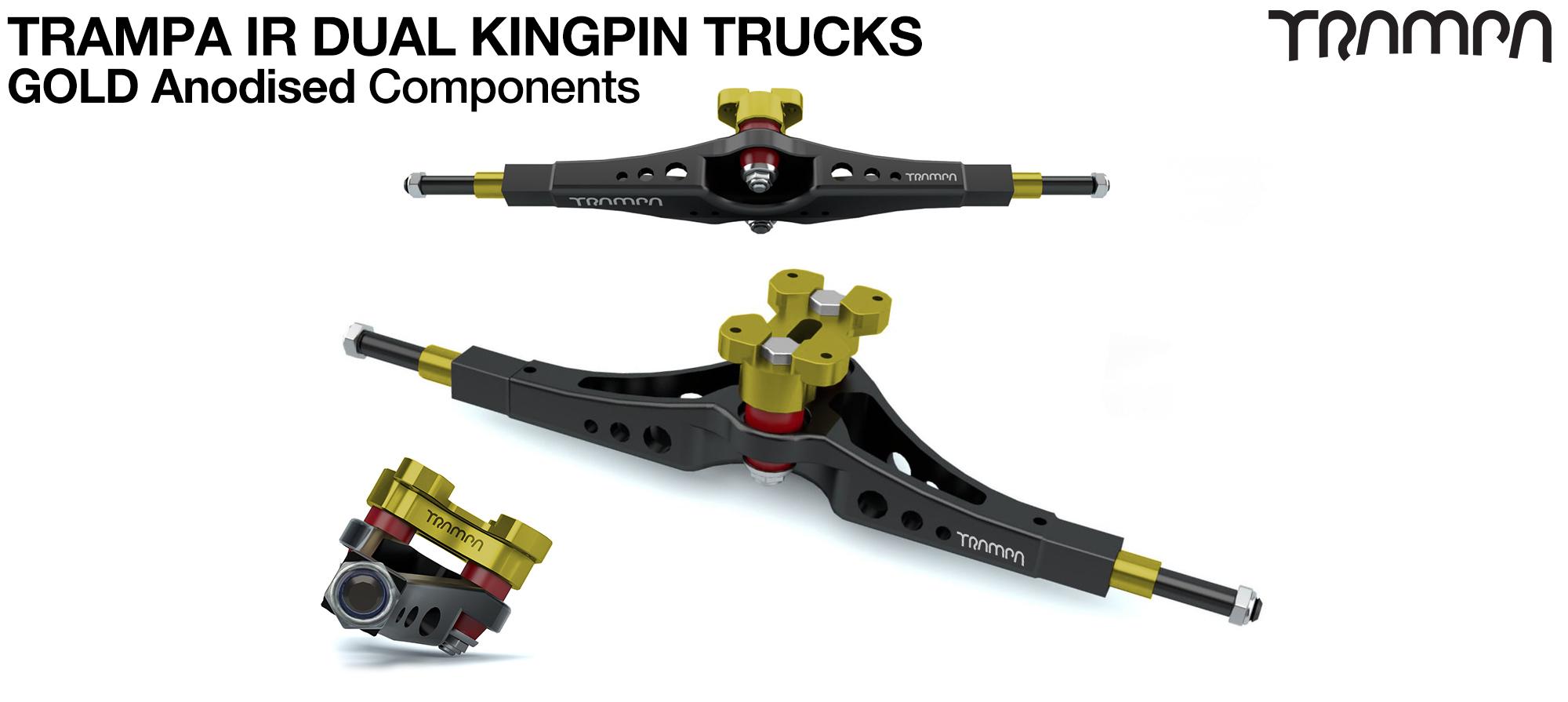 TRAMPA IR Double Kingpinned Skate Style Trucks fit every 19.1mm Motor Mount TRAMPA offers - GOLD