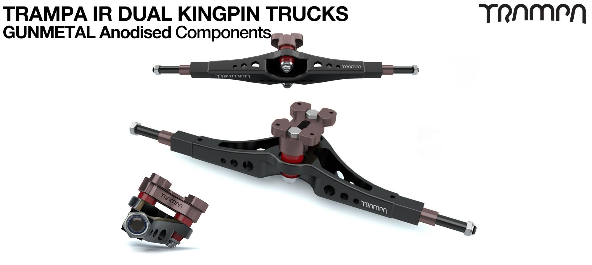 TRAMPA IR Double Kingpinned Skate Style Trucks fit every 19.1mm Motor Mount TRAMPA offers - GUNMETAL