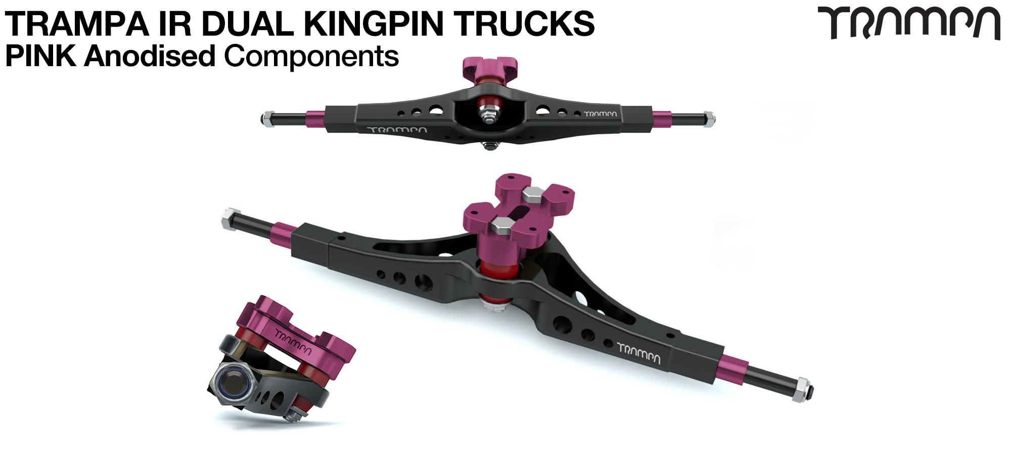 TRAMPA IR Double Kingpinned Skate Style Trucks fit every 19.1mm Motor Mount TRAMPA offers - PINK