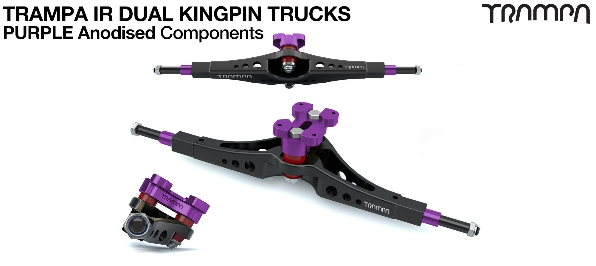TRAMPA IR Double Kingpinned Skate Style Trucks fit every 19.1mm Motor Mount TRAMPA offers - PURPLE