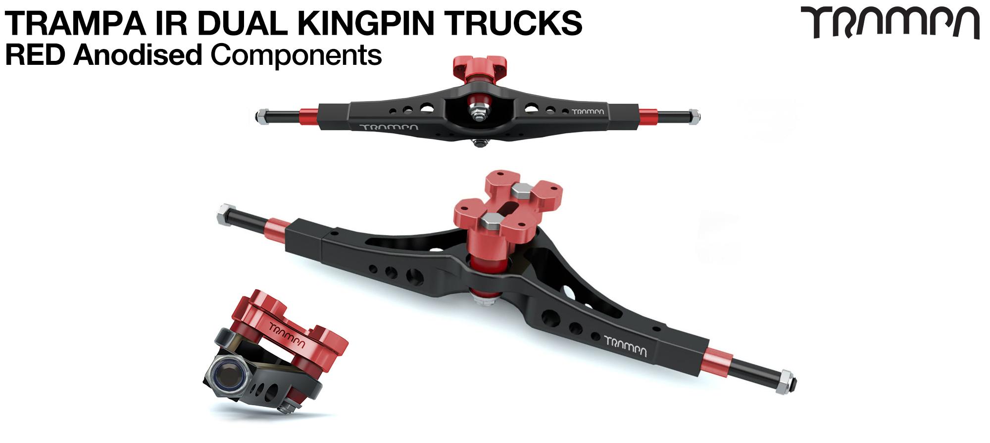 TRAMPA IR Double Kingpinned Skate Style Trucks fit every 19.1mm Motor Mount TRAMPA offers - RED