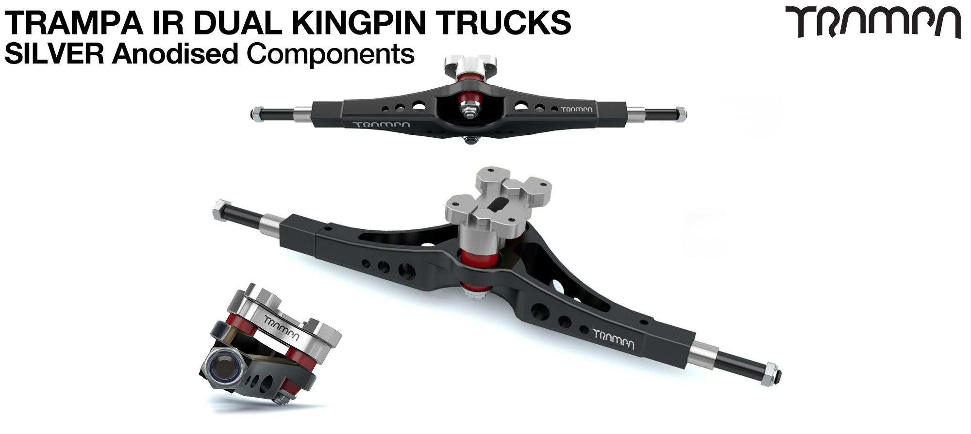 TRAMPA IR Double Kingpinned Skate Style Trucks fit every 19.1mm Motor Mount TRAMPA offers - SILVER