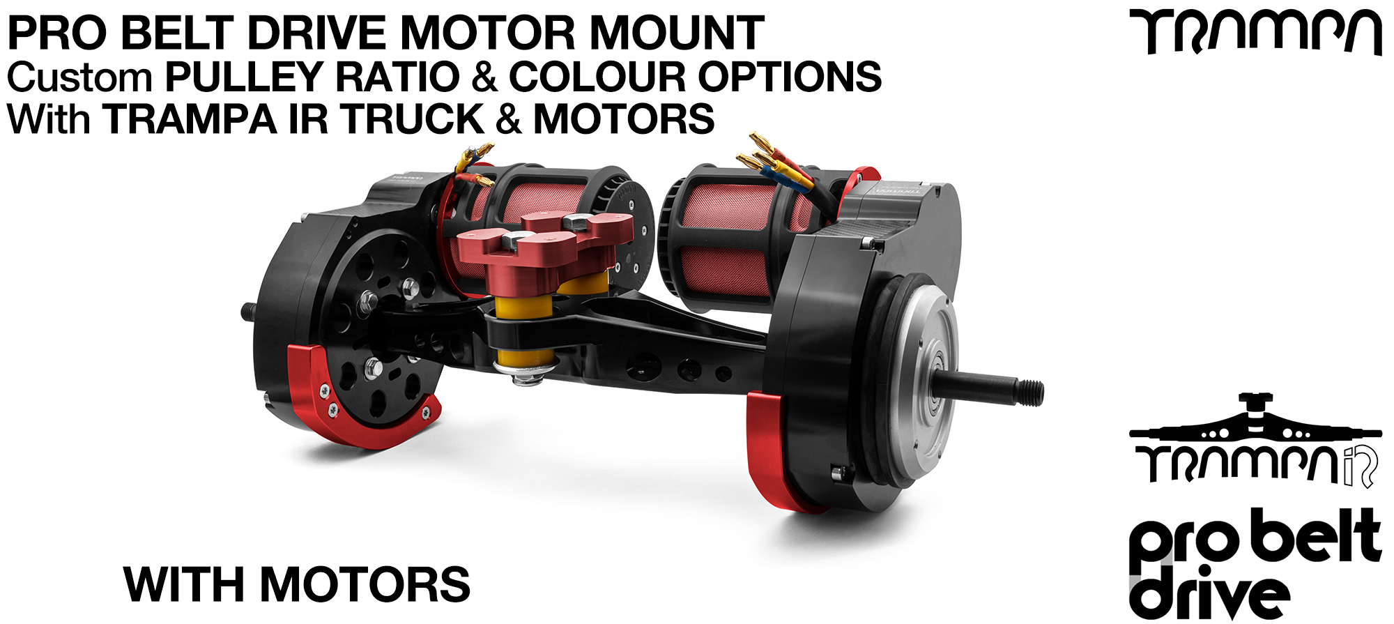 TRAMPA's 16mm PRO Belt Drive TWIN Motor Mountainboard WITH Motors Mounted on a Precision INFINITY Truck