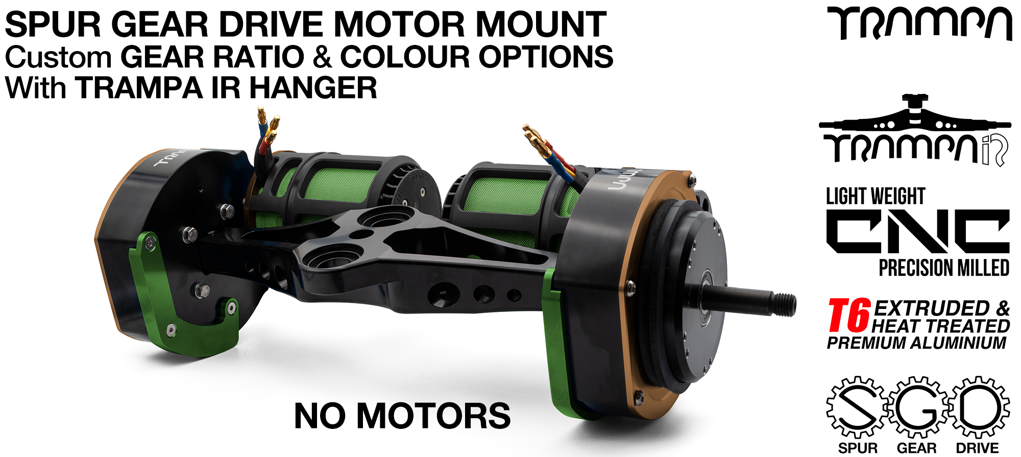 Mountainboard Spur Gear Drive TWIN with PULLEYS & FILTERS Mounted on a TRAMPA IR Hanger