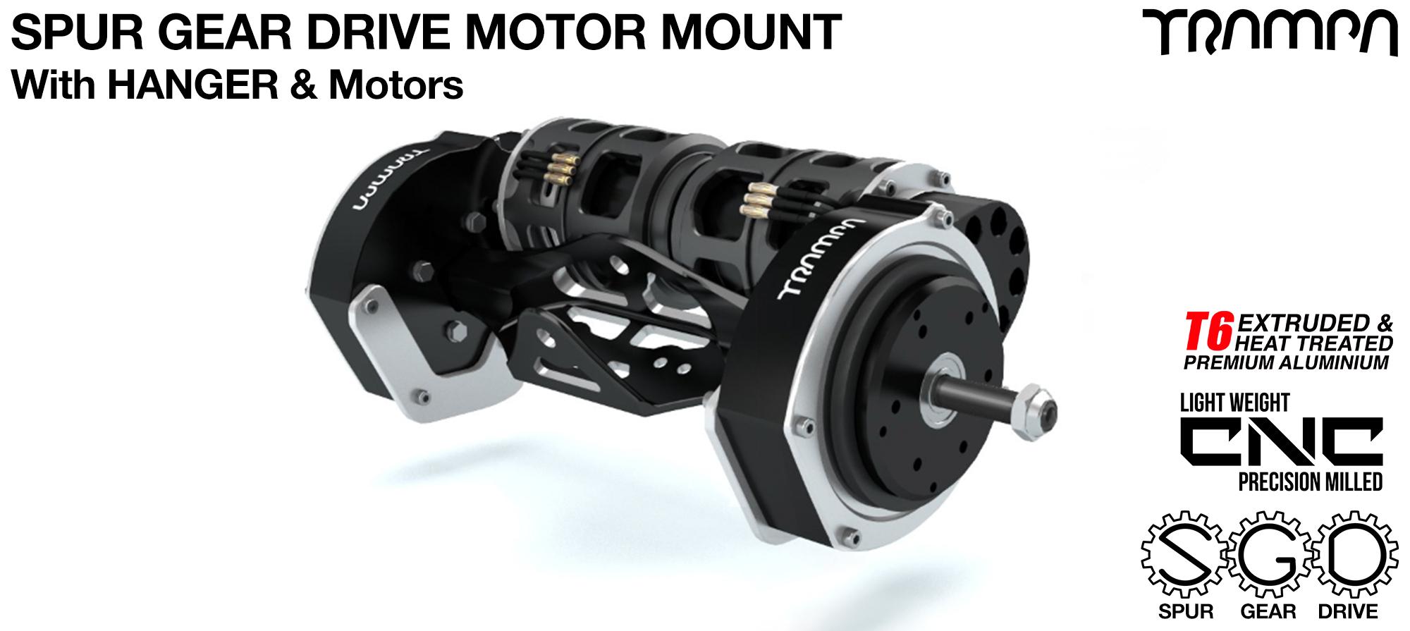 Mountainboard Spur Gear Drive TWIN Motor Mount & Hanger with Motors