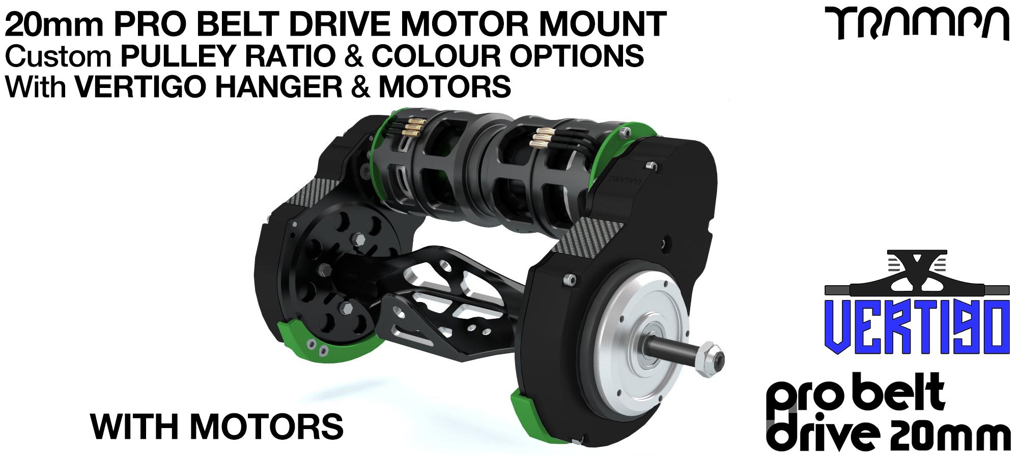 TRAMPA's 16mm  PRO Belt Drive TWIN Motor Mountainboard WITH Motors Mountred on a Precision VERTIGO Hanger