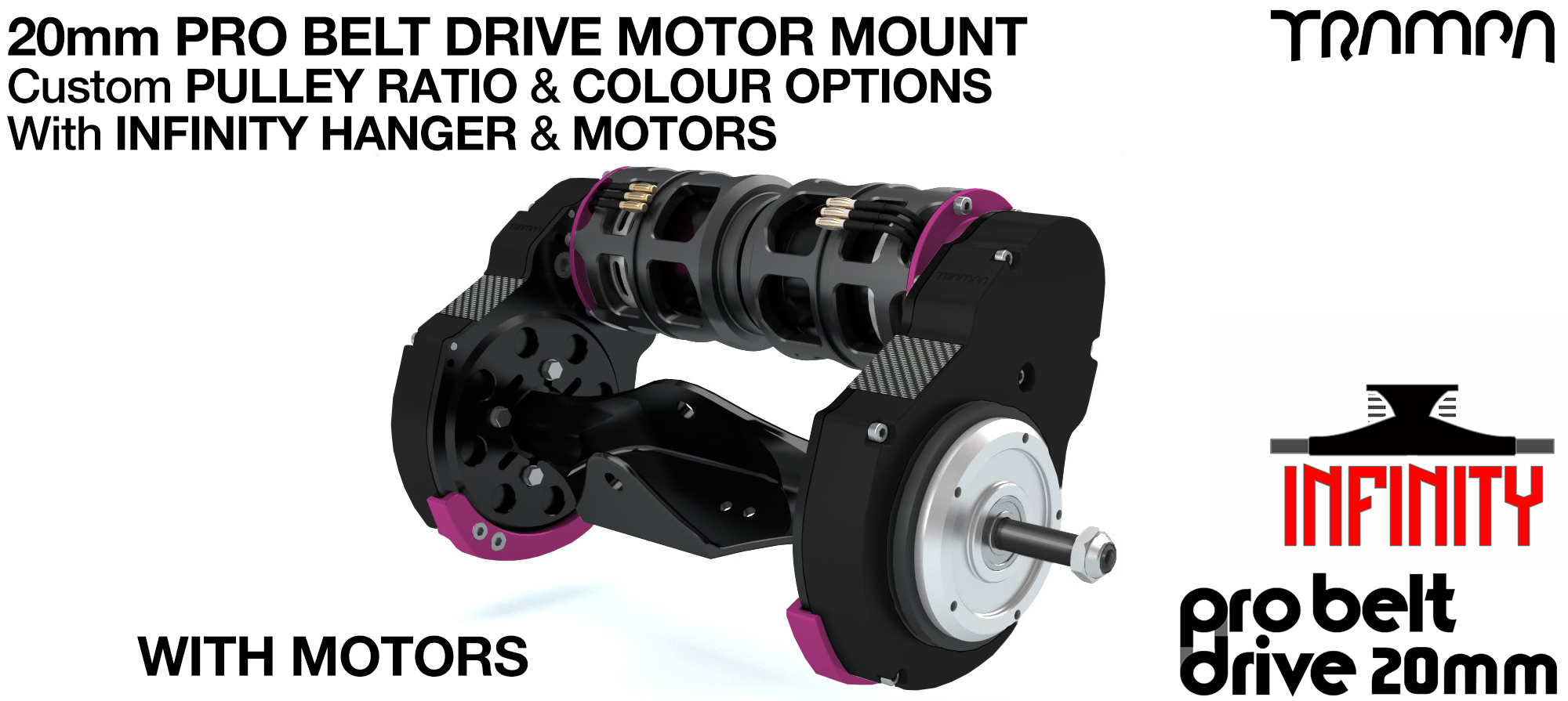 TRAMPA's 16mm  PRO Belt Drive TWIN Motor Mountainboard WITH Motors Mountred on a Precision INFINITY Hanger