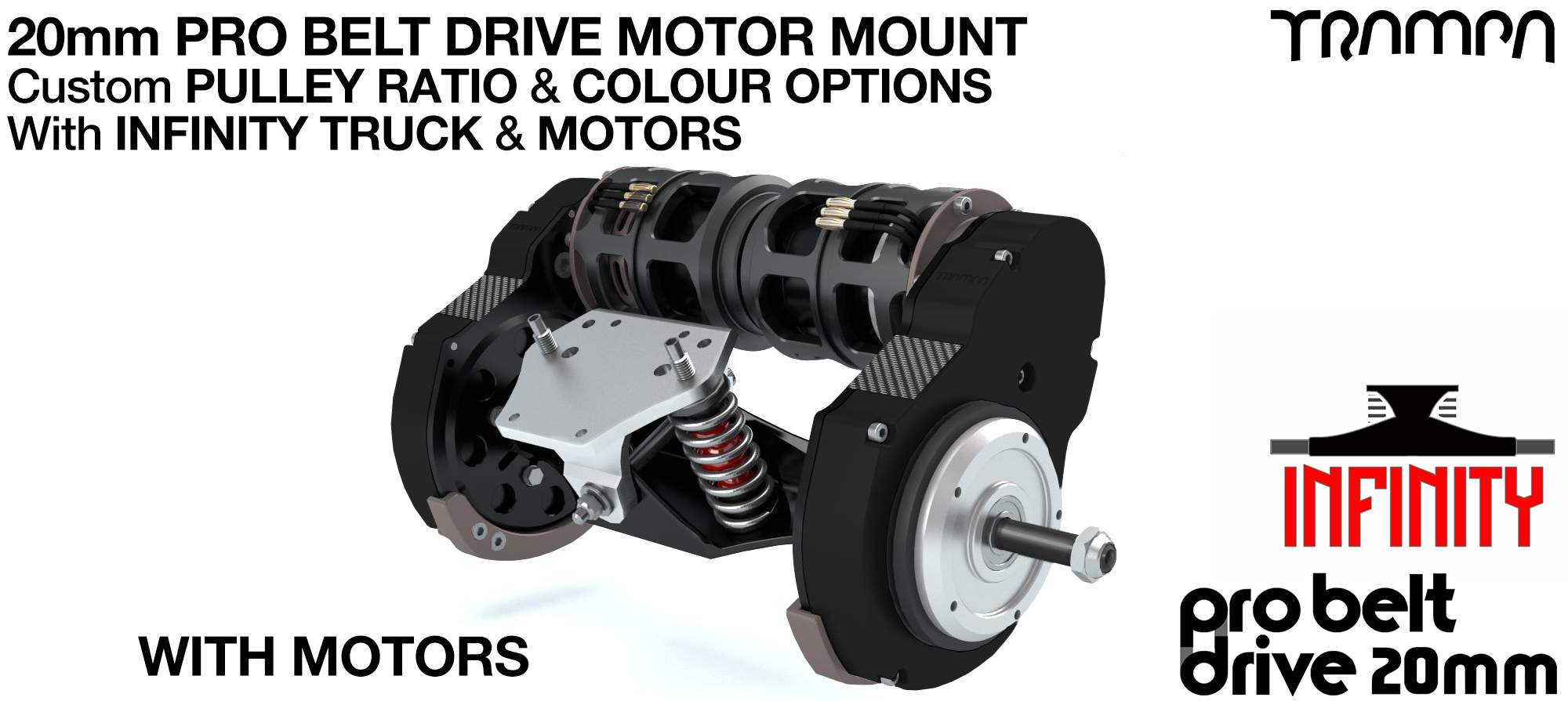 TRAMPA's 16mm  PRO Belt Drive TWIN Motor Mountainboard WITH Motors Mountred on a Precision INFINITY Truck