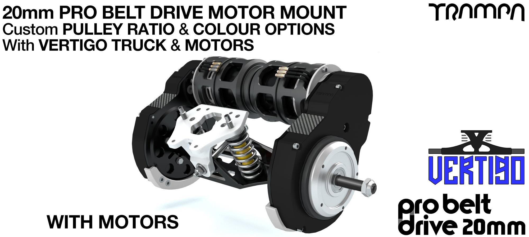 TRAMPA's 16mm  PRO Belt Drive TWIN Motor Mountainboard WITH Motors Mountred on a Precision VERTIGO Truck