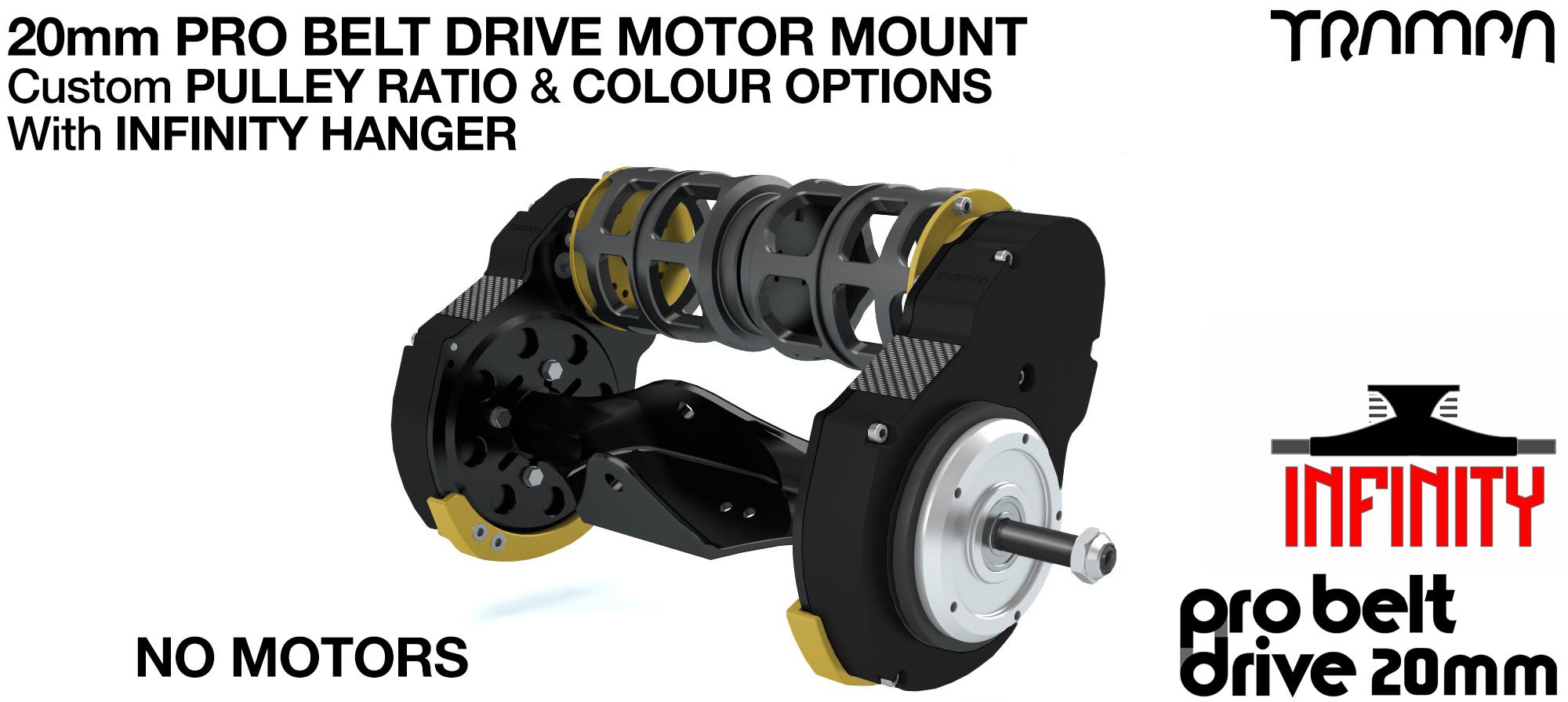 20mm  PRO Belt Drive TWIN Motor Mountainboard & Precision INFINITY Hanger - NO MOTORS