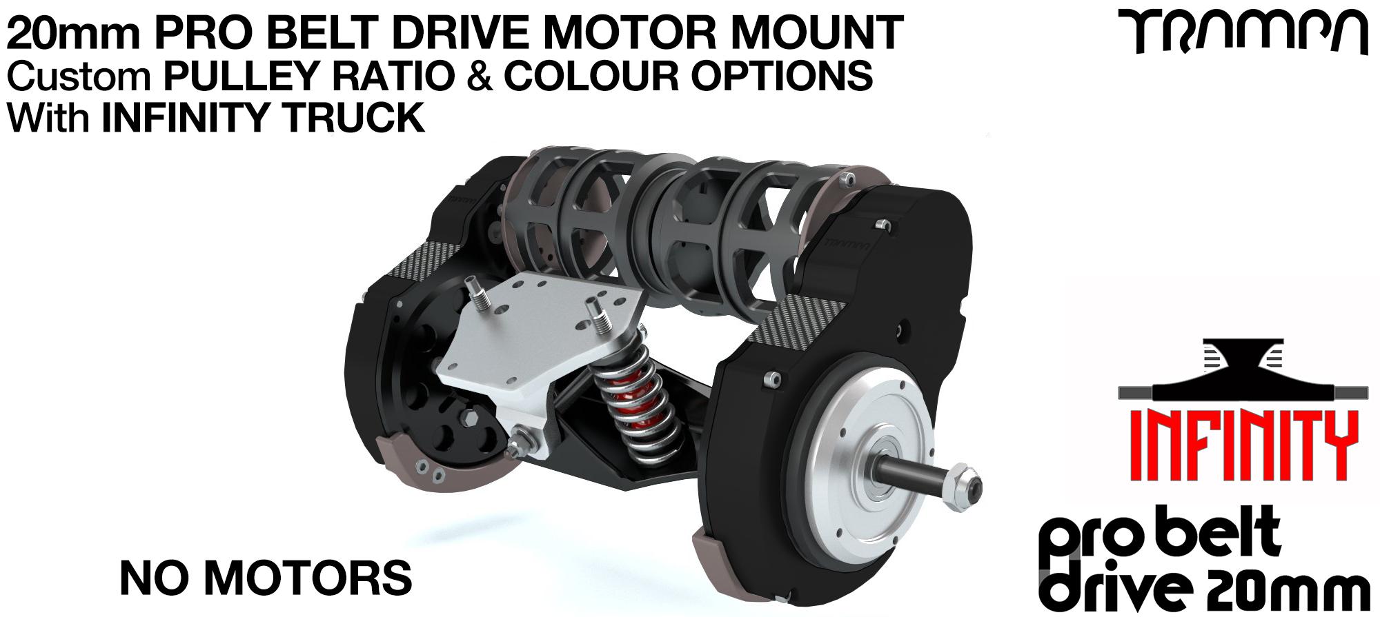 TRAMPA's 20mm  PRO Belt Drive TWIN Motor Mountainboard & Precision INFINITY TRUCK - NO MOTORS