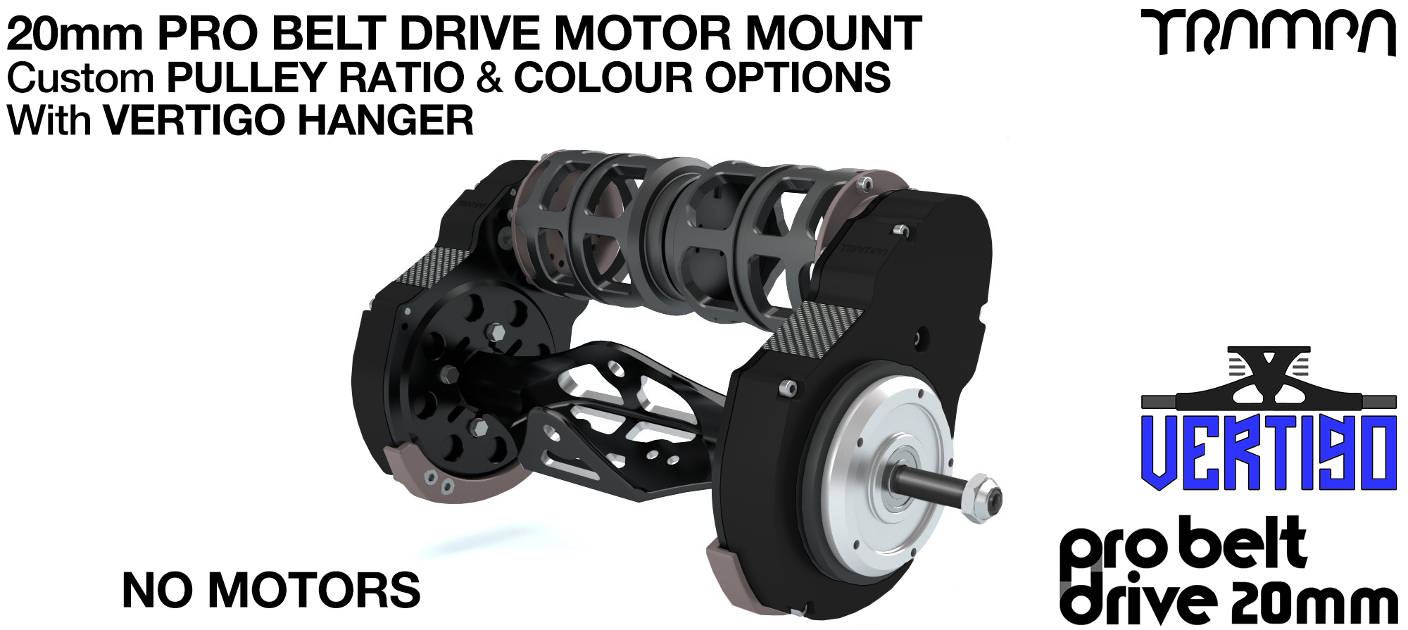 TRAMPA's 20mm  PRO Belt Drive TWIN Motor Mountainboard & Precision VERTIGO Hanger - NO MOTORS