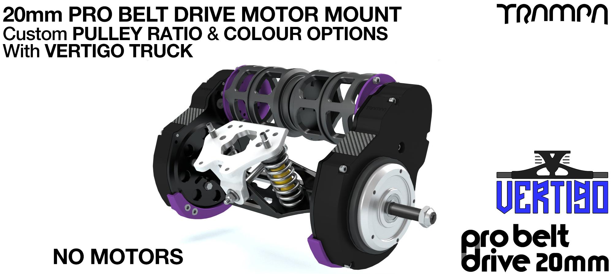 TRAMPA's 16mm  PRO Belt Drive TWIN Motor Mountainboard & Precision VERTIGO Truck - NO MOTORS