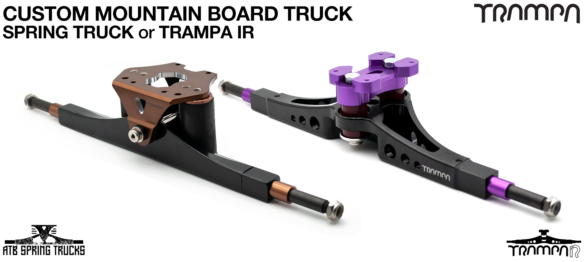 Custom Mountainboard Truck CNC Precision made 16 or 17 Inch wide Mountainboard Trucks 'Channel Style (Spring) or 'Double King-Pinned' (Skate) Style