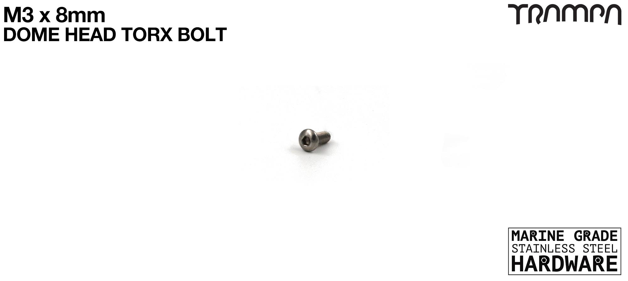 M3 x 8mm Dome Headed Head Allen-Key Bolt Marine Grade Stainless Steel