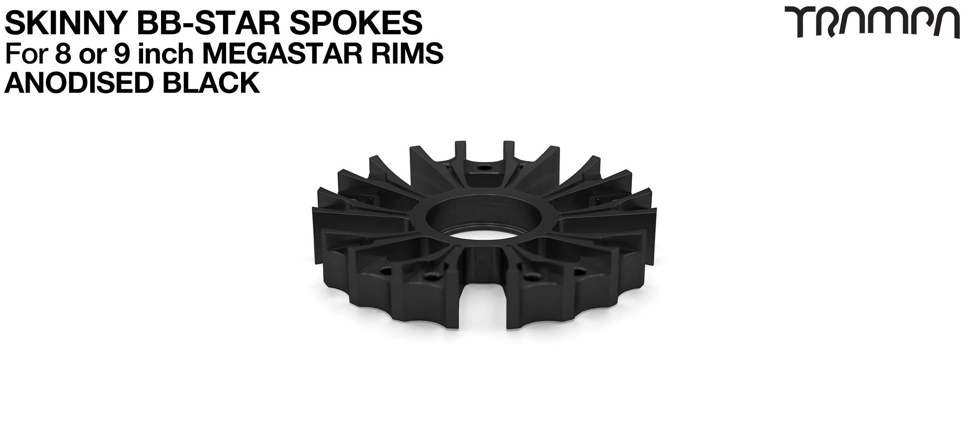 BB Star Spoke for 8 Inch DEEP-DISH MEGASTAR Rim - CNC Precision milled - BLACK