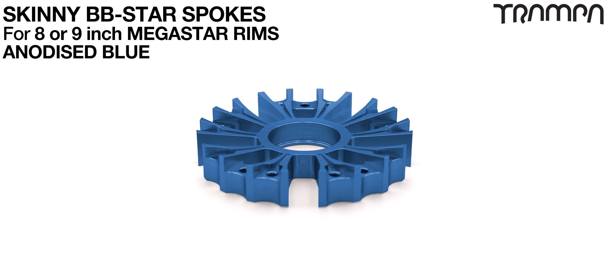 BB Star Spoke for 8 Inch DEEP-DISH MEGASTAR Rim - CNC Precision milled - BLUE