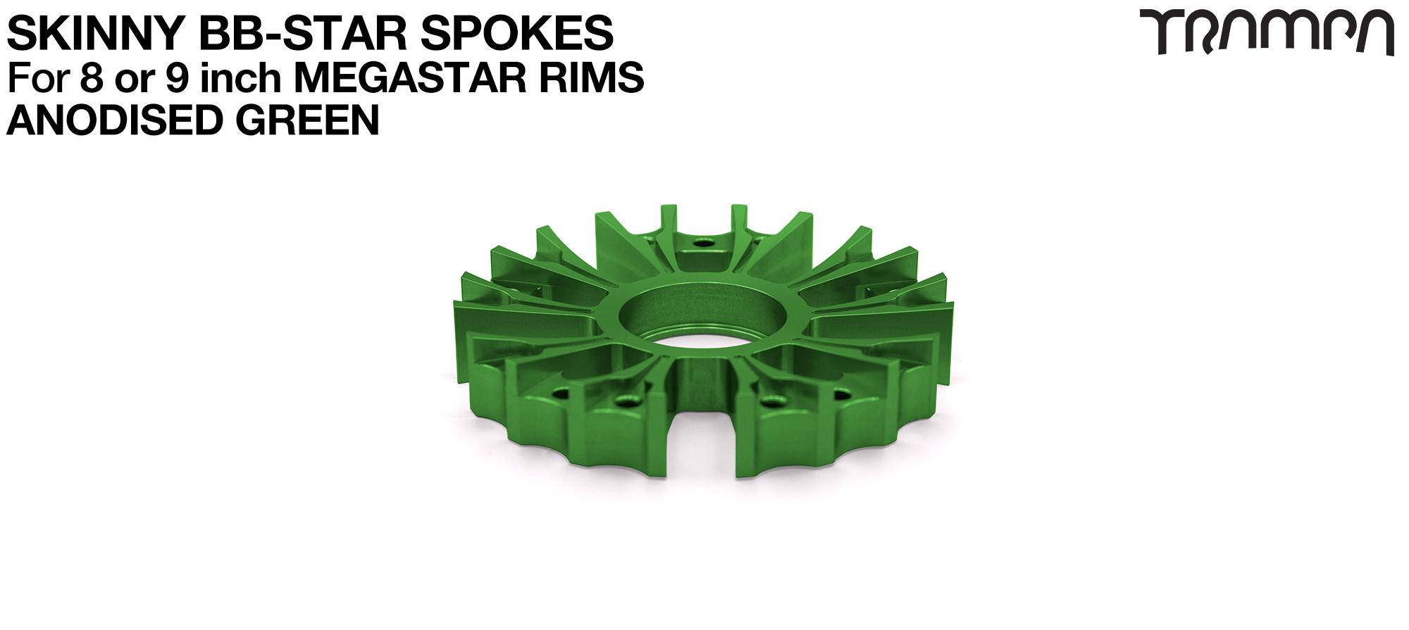 BB Star Spoke for 8 Inch DEEP-DISH MEGASTAR Rim - CNC Precision milled - GREEN