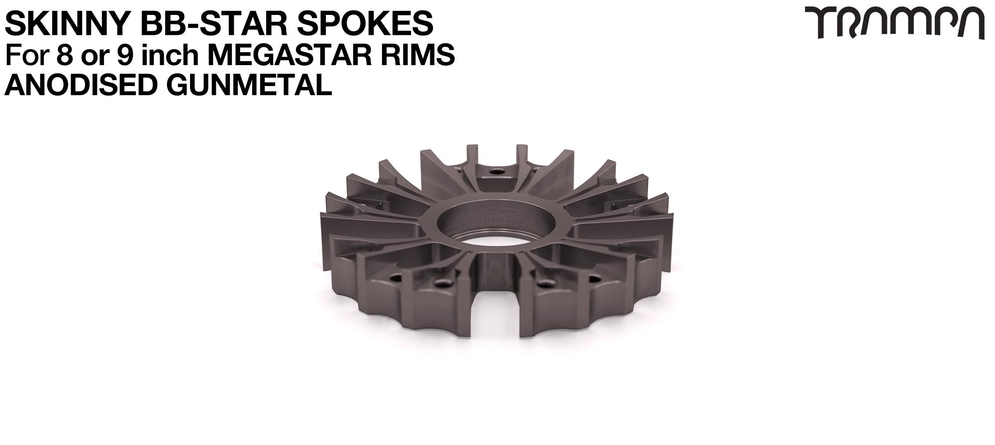 BB Star Spoke for 8 Inch DEEP-DISH MEGASTAR Rim - CNC Precision milled - GUNMETAL