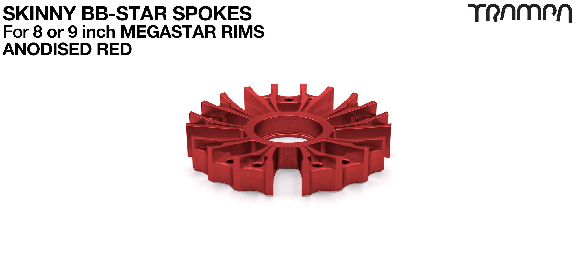 BB Star Spoke for 8 Inch DEEP-DISH MEGASTAR Rim - CNC Precision milled - RED