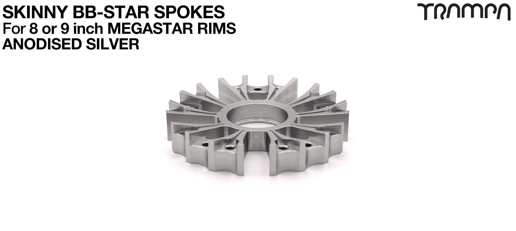 BB Star Spoke for 8 Inch DEEP-DISH MEGASTAR Rim - CNC Precision milled - SILVER