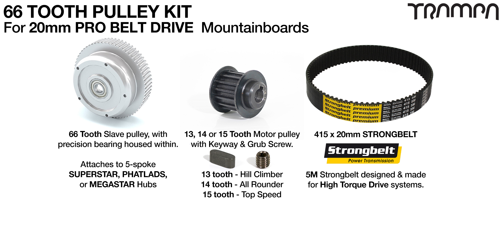 PRO BELT DRIVE complete Pulley Kit with 66 Tooth Slave & 415x x 20mm belt with Slave Pulleys & Small Parts - Fits all of TRAMPA's 5 Spoke Wheels (COPY)
