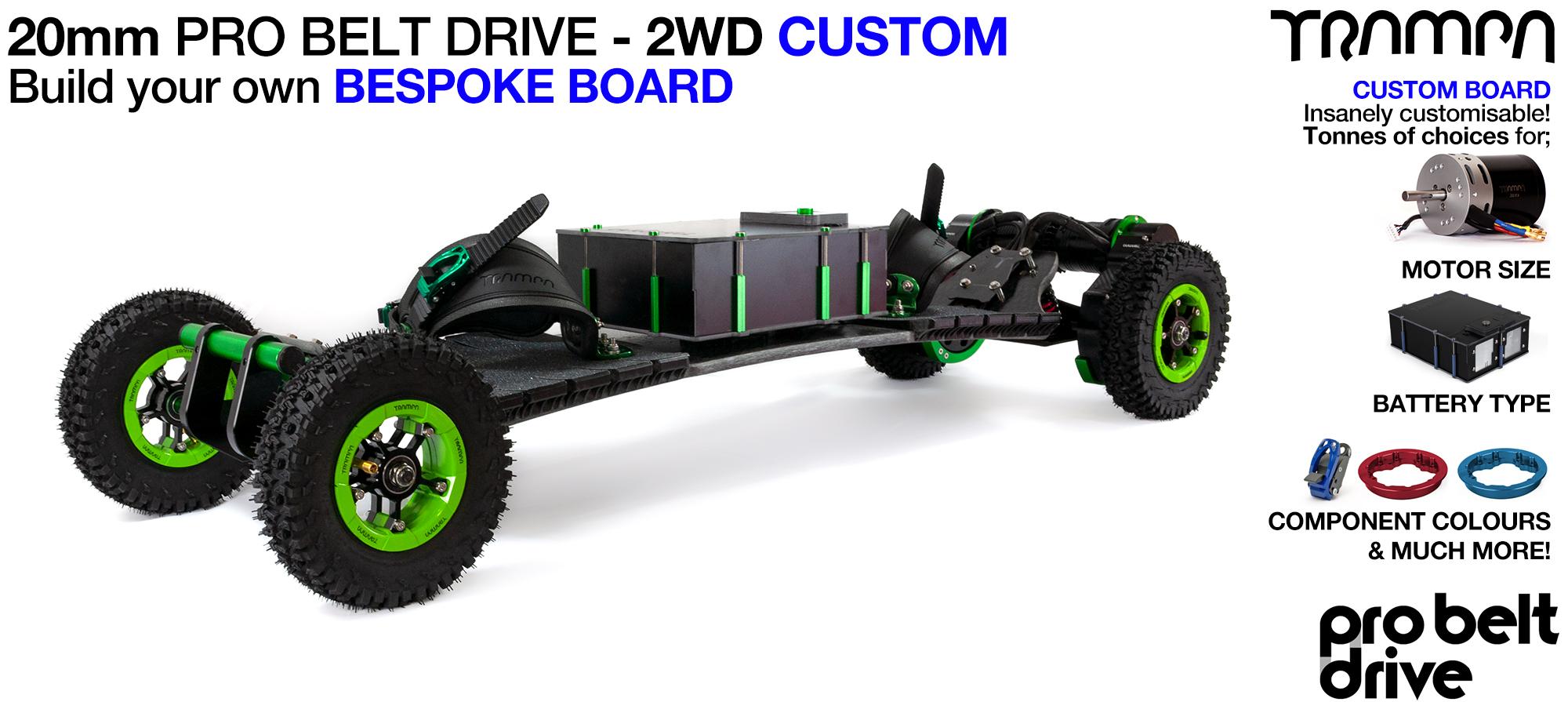 Electric Mountainboard with 20mm PRO BELT DRIVE Motor mounts - 2WD CUSTOM