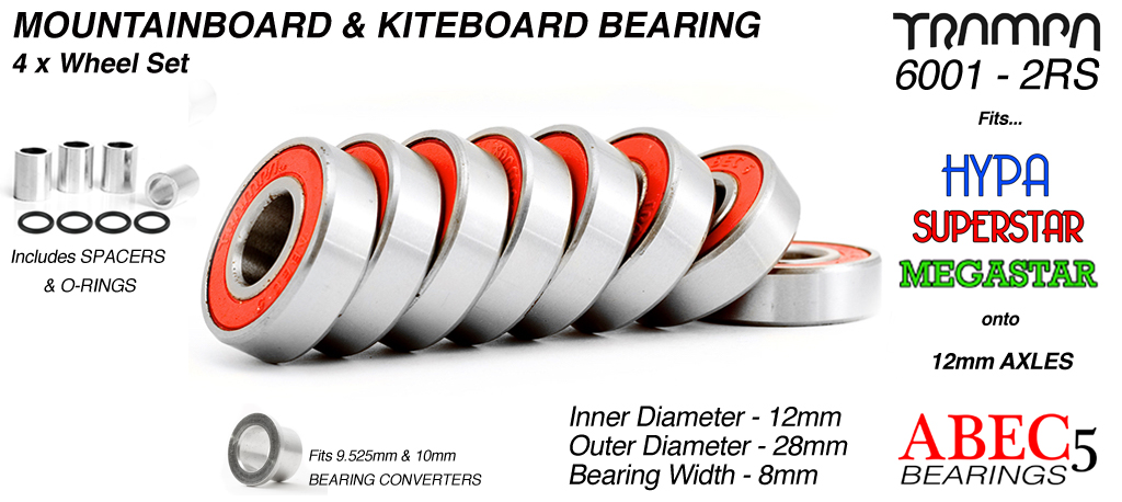 12mm Bearings - 12mm x 28mm axle ABEC 5 rated RED Rubber Sealed sidewalls 4x wheels