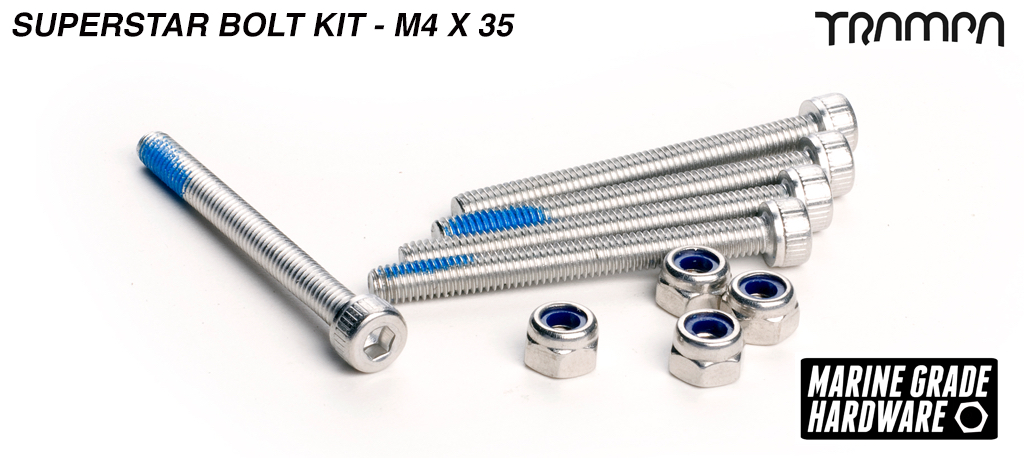 M4 x 40mm Marine Grade Stainless Steel Socket Capped Superstar Hub Bolt kit