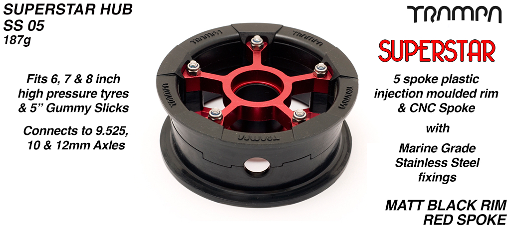 Superstar Hub - Matt Black Rim with Red anodised spokes