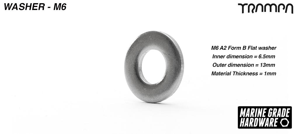 M6 Form B Washer Marine grade Stainless steel
