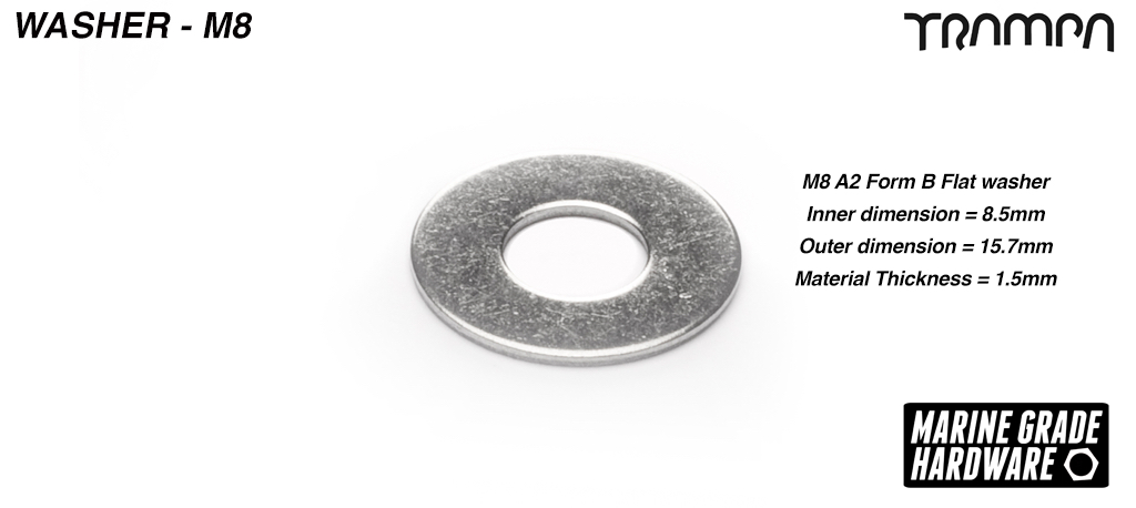 M8 x 1.5mm Form B Kingpin Washer Marine Grade Stainless steel