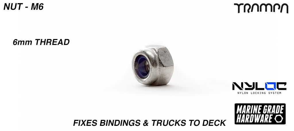 M6 Nut - Marine Grade Stainless steel Nylock Nut - Fixes Bindings & Trucks to Deck