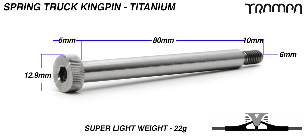 8mm TITANIUM King Pin - Half the weight of steel!