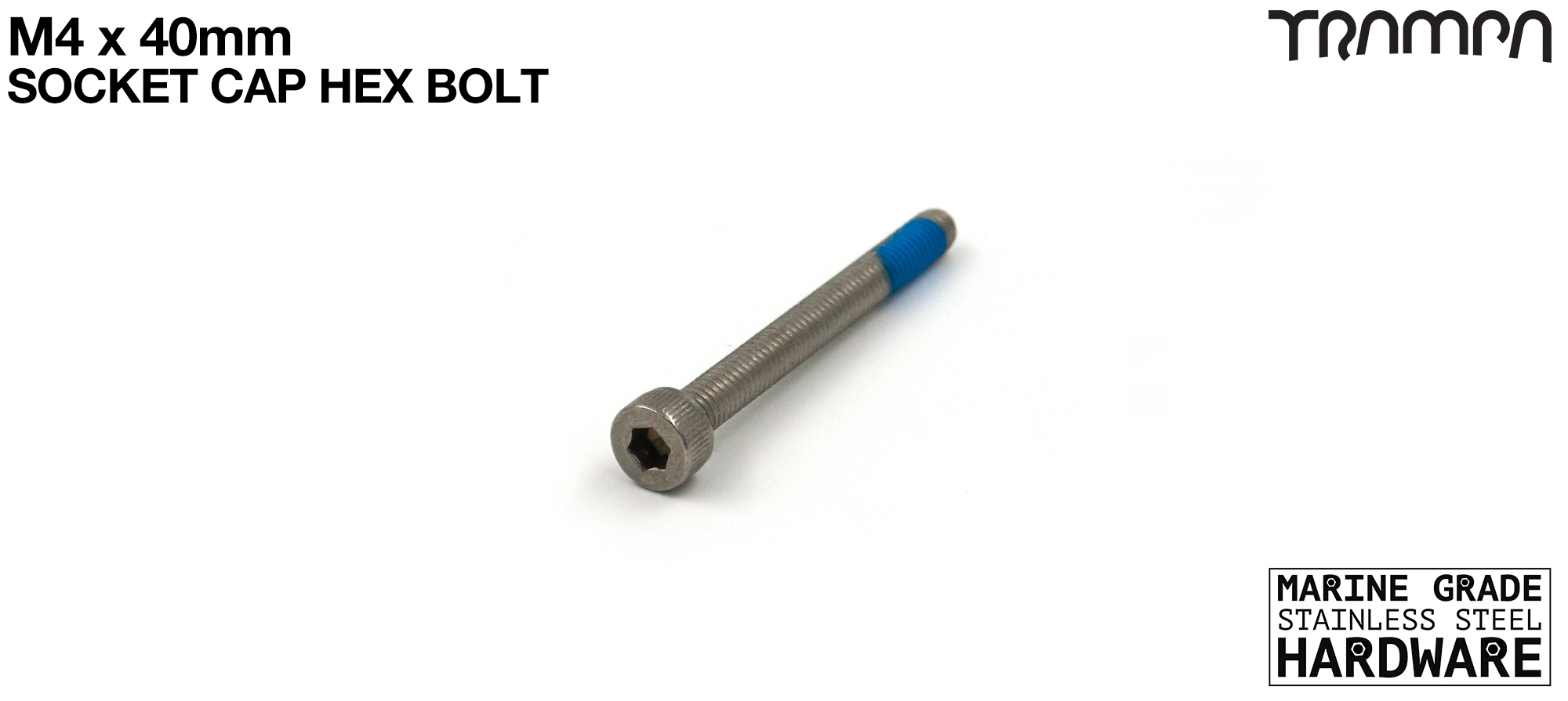 M4 x 40mm Socket Capped Allen-Key Bolt - Marine Grade Stainless steel with locking paste