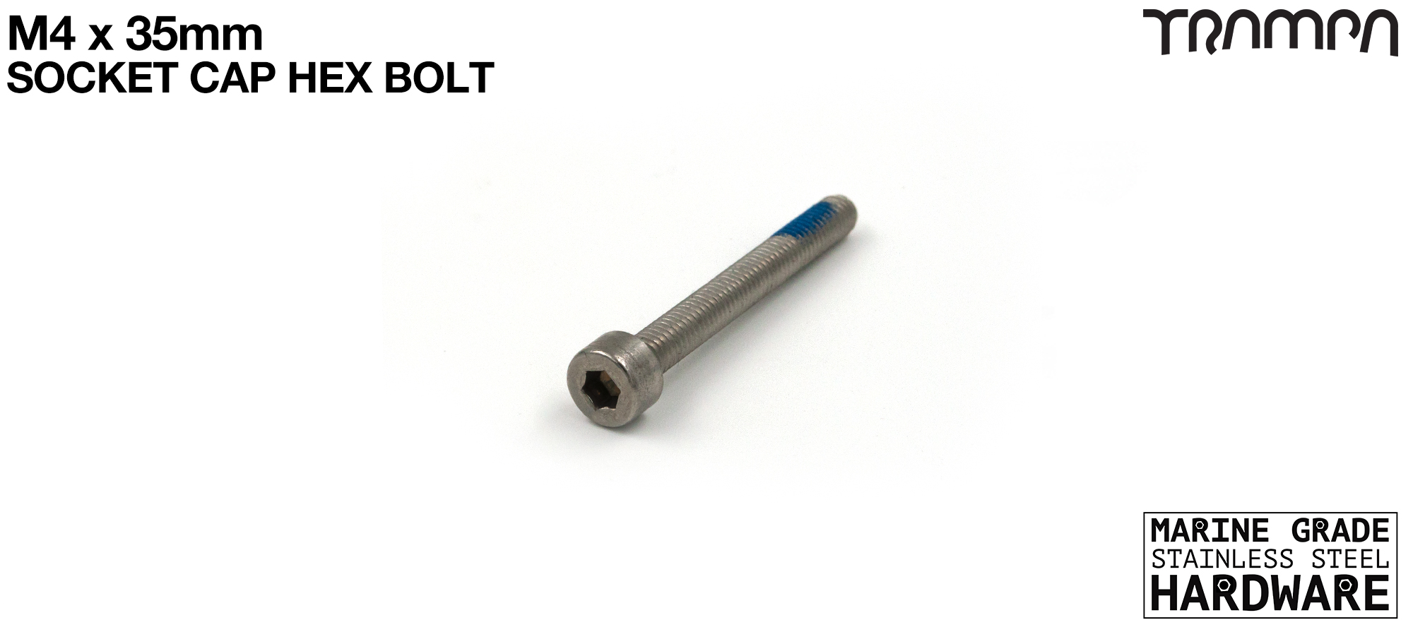 M4 x 35mm Socket Capped Bolt - Marine Grade Stainless steel with locking paste