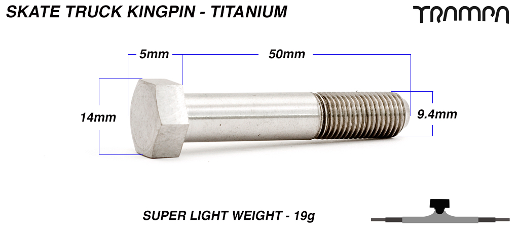 TITANIUM kingpin for skate trucks! Super strong & half the weight of steel!