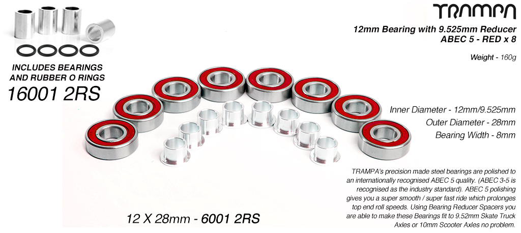 RED 12x28mm Bearings & 9.525mm Reducers x8 (+£5)