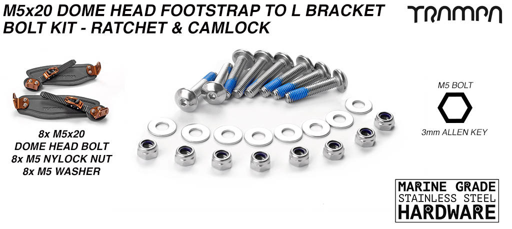 M5 x 20mm Marine Grade Stainless Steel Extra Wide Dome Head Binding Bolt kit - Connects Foot & Ladder straps to L Brackets