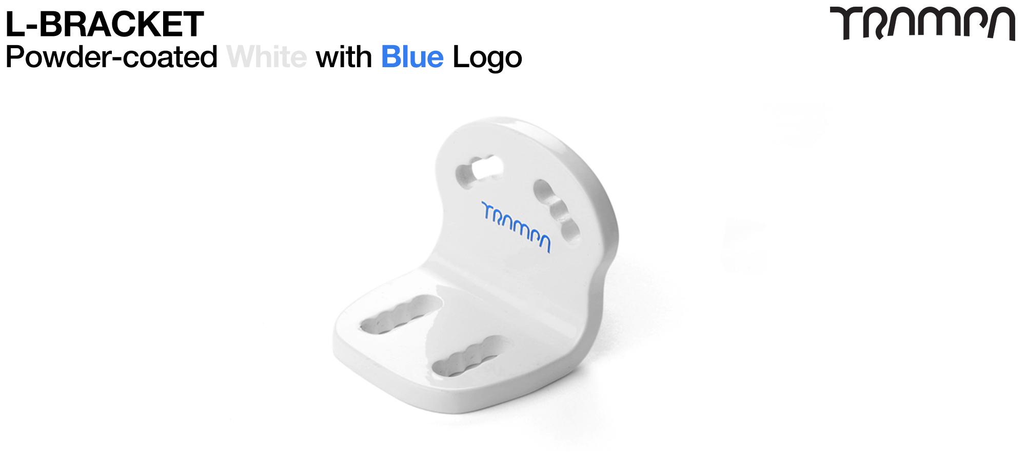 WHITE Powdercoated with BLUE logo