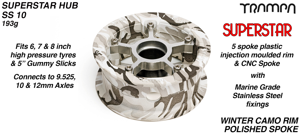 Superstar Hub - Winter Camo Rim with Silver anodised Spokes
