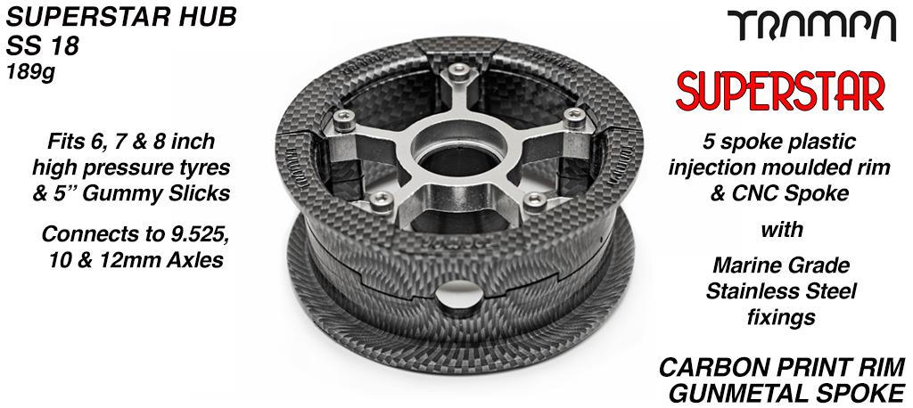 Superstar Hub - Carbon print Rim with Gunmetal anodised spokes