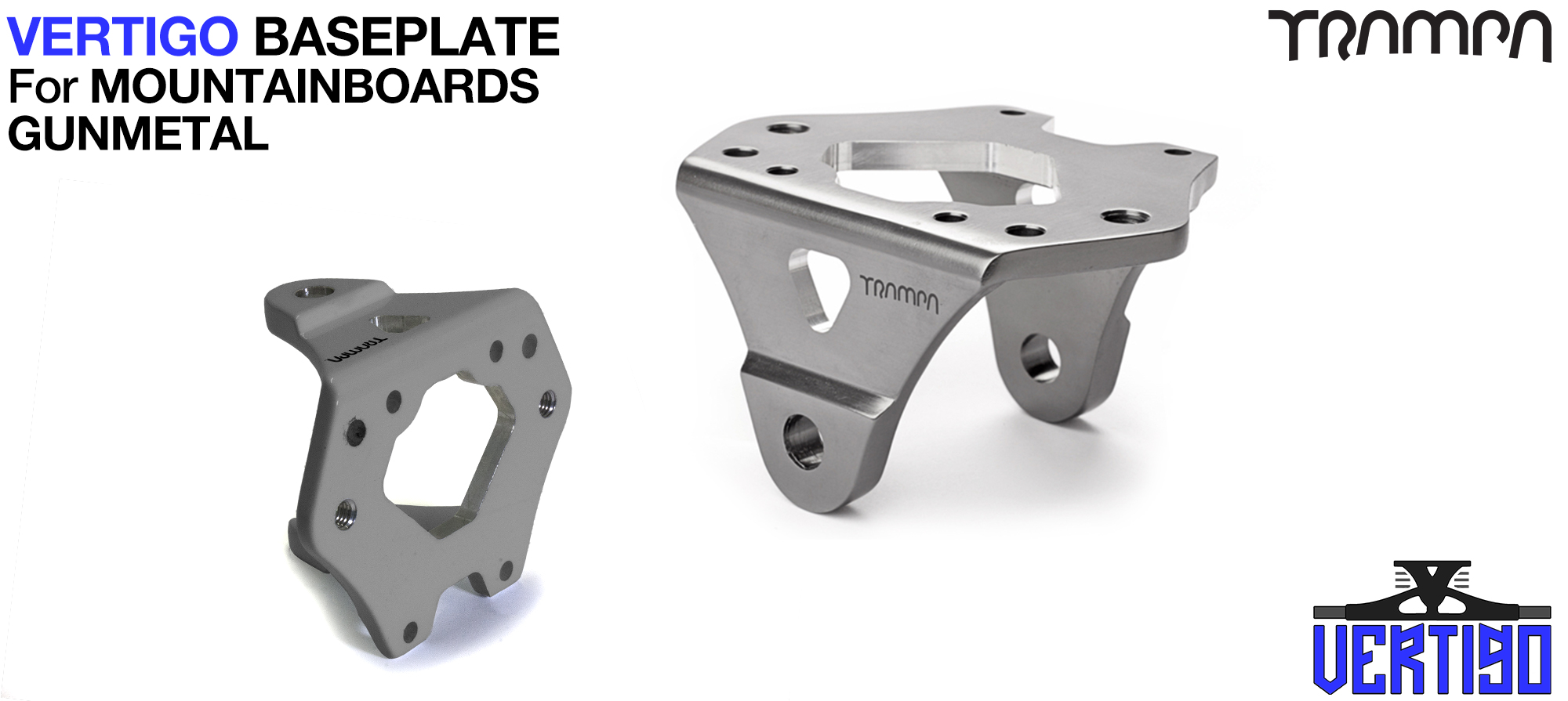 VERTIGO Baseplate GUNMETAL - T6 Aluminum Anodised & CNC lightened - Black logo
