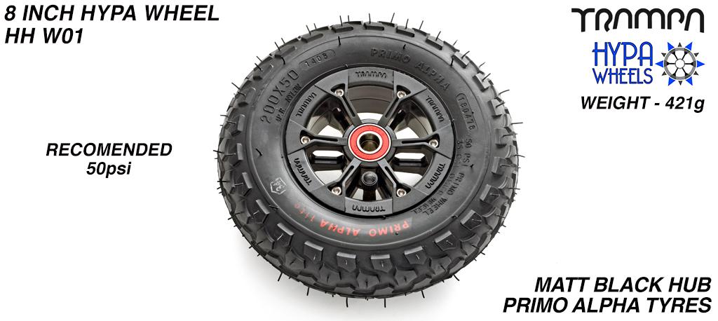 8 Inch Wheel - Matt Black Hypa Hub with Black Alpha 8 Inch Tyre