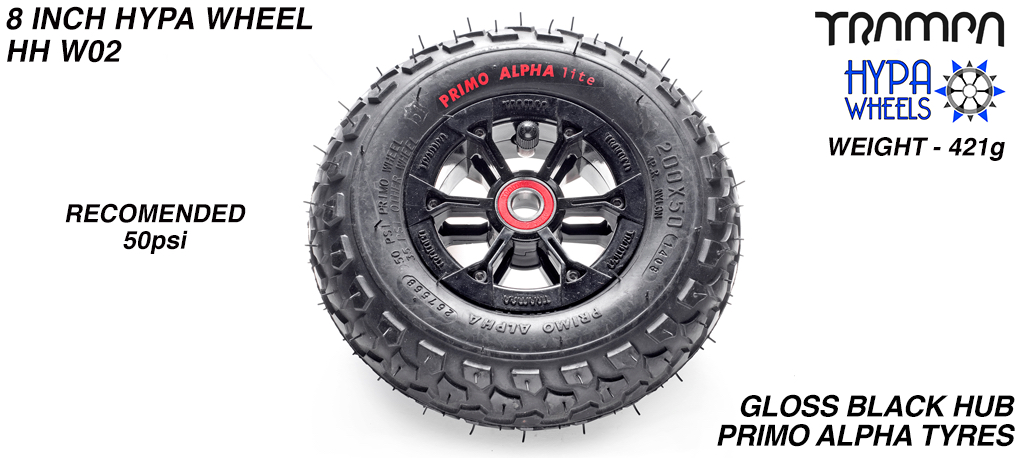 8 Inch Wheel - Black Gloss Hypa Hub with Black Alpha 8 Inch Tyre