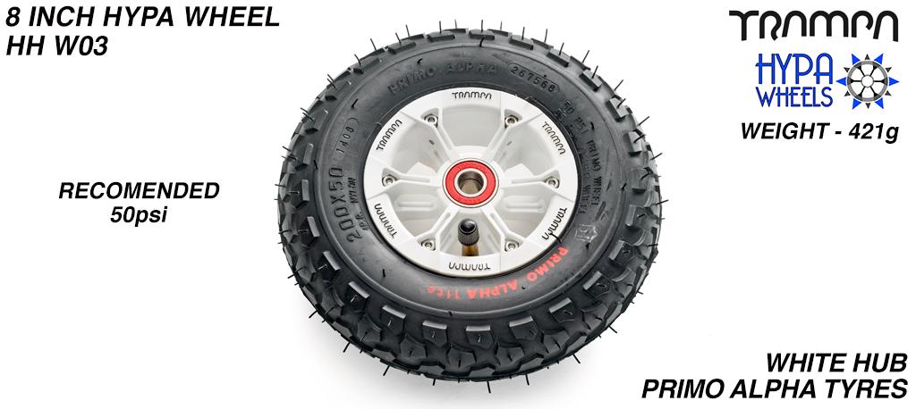 8 Inch Wheel - White & Black logo HYPA Hub with Black Alpha 8 Inch Tyre